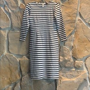 J Crew Black and White Stripped Dress
